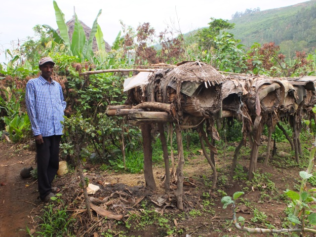 Azedabo Farmer and His Woven Bamboo Hive Apiary