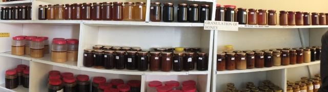 No Bee Research center is complete without its wall of honey